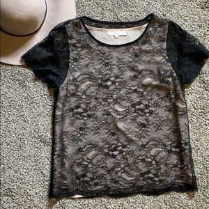 Loft Black lace tee with sewn in nude camisole